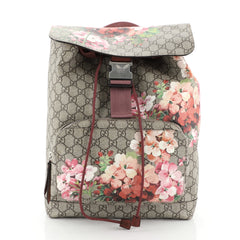 Gucci Buckle Backpack Blooms Print GG Coated Canvas Medium Brown 4110010