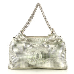 Chanel Rodeo Drive Hobo Perforated Leather Small Silver 411106