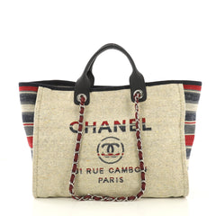 Chanel Deauville Chain Tote Canvas with Striped Detail 411128