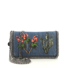 Stella McCartney Falabella Flap Crossbody Bag Embroidered Blue 411161