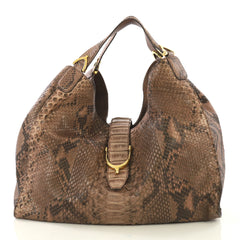 Gucci Soft Stirrup Tote Python Large Brown 411301