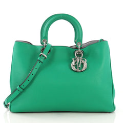Christian Dior Diorissimo Tote Pebbled Leather Large Green 411404