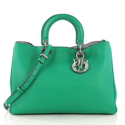345ea2b9d Christian Dior Diorissimo Tote Pebbled Leather Large Green 411404 – Rebag