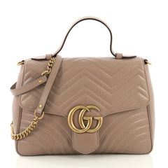 Gucci GG Marmont Top Handle Flap Bag Matelasse Leather Neutral 411406