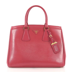 Prada Parabole Handbag Vernice Saffiano Leather Medium Pink 411431