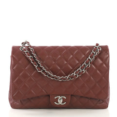 Chanel Classic Double Flap Bag Quilted Caviar Maxi Red 411471