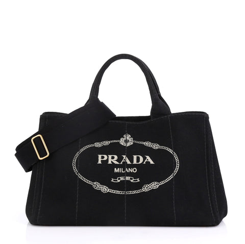 48efd09988d Prada Canapa Convertible Tote Canvas Medium Black 4115610 – Rebag