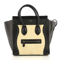 Celine Tricolor Luggage Handbag Pony Hair and Leather Mini 4115616