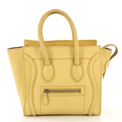 Celine Luggage Handbag Smooth Leather Micro Yellow 411861