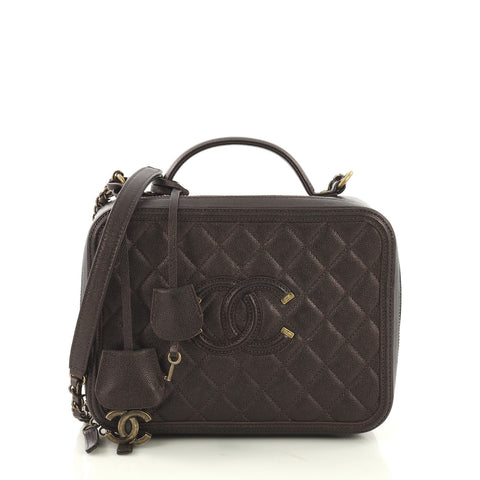 38cbafec8586 Chanel Filigree Vanity Case Quilted Caviar Large Purple 411951 – Rebag