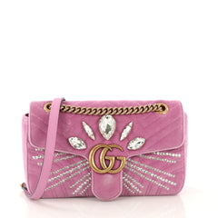 Gucci GG Marmont Shoulder Bag Embellished Matelasse Velvet Small