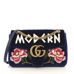 Gucci GG Marmont Flap Bag Embroidered Matelasse Velvet 412334