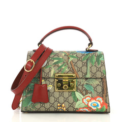 Gucci Padlock Top Handle Bag Tian Print GG Coated Canvas 412335