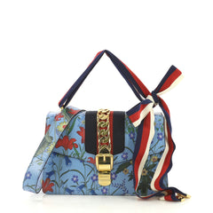 Gucci Sylvie Shoulder Bag Flora Leather Small Blue 412336