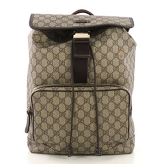 Gucci Buckle Backpack GG Coated Canvas Medium Brown 412391