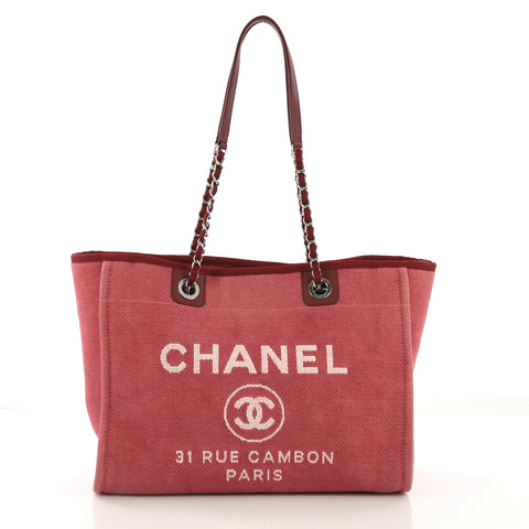 6a9412fc5ed4 Chanel Deauville Chain Tote Canvas Small Pink 412531 – Rebag