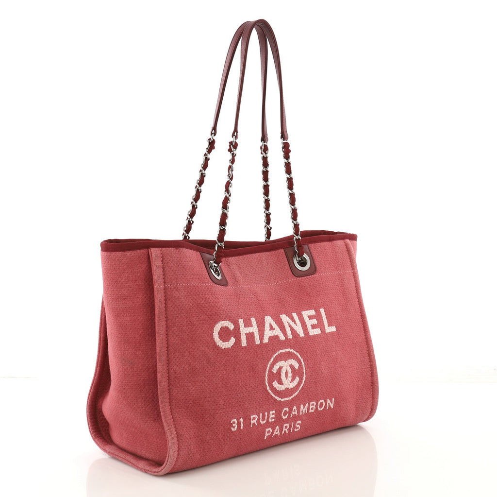 650d7cdef828 Chanel Deauville Chain Tote Canvas Small Pink 412531 – Rebag