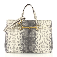 Gucci Bright Bit Convertible Tote Python Embossed Leather 4125410