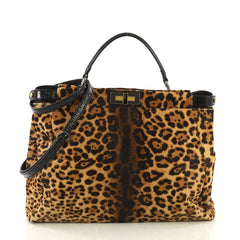 Fendi Peekaboo Bag Printed Pony Hair Large Brown 4125423