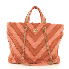 Chanel Shopping Tote Chevron Canvas Patchwork Large Pink 412542