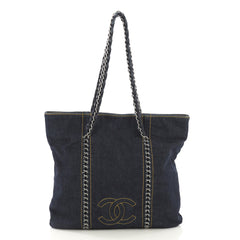 Chanel Luxe Ligne Tote Denim North South Blue 4125440