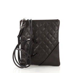 Chanel Cambon Flat Messenger Quilted Leather Brown 4125451