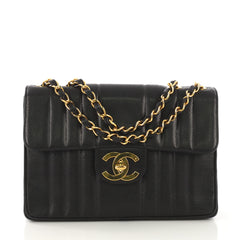 Chanel Vintage Classic Single Flap Bag Vertical Quilt Caviar 412545