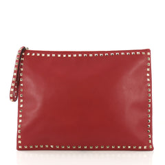 Valentino Rockstud Pouch Leather Oversized Red 4125463