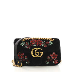 Gucci GG Marmont Flap Bag Embellished Matelasse Velvet Mini black 412551