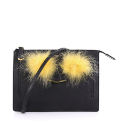 Fendi Monster Front Pocket Clutch Leather with Fur Black 41277107