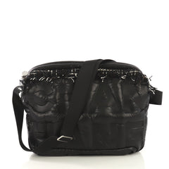 Chanel Doudoune Messenger Bag Embossed Nylon Medium Black 41277114