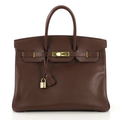 Hermes Birkin Handbag Brown Courchevel with Gold Hardware 35 412771