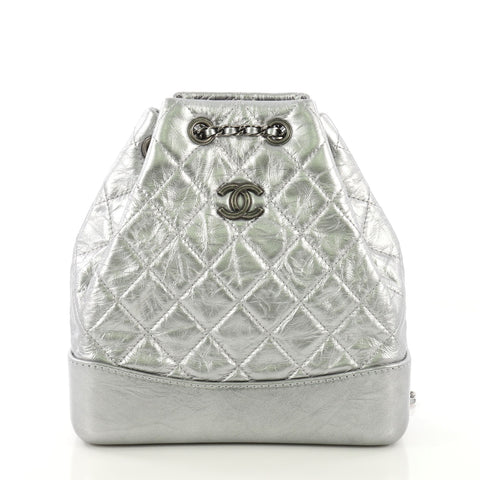 b6f8e0568dd311 Chanel Gabrielle Backpack Quilted Calfskin Small Silver 4127723 – Rebag