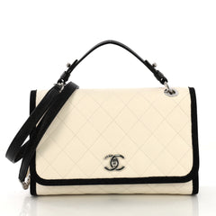 Chanel CC Top Handle Flap Bag Quilted Caviar with Grosgrain 4127724