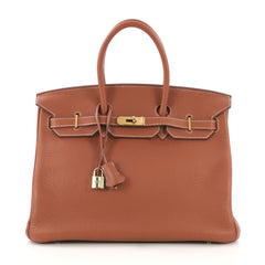 Hermes Birkin Handbag Brown Clemence with Gold Hardware 35 412772