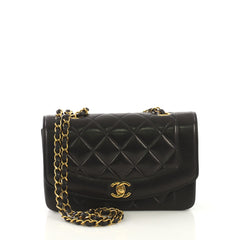 c17d98dfa986 Chanel Model  Vintage Diana Flap Bag Quilted Lambskin Small Black 41277 42