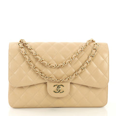Chanel Classic Double Flap Bag Quilted Caviar Jumbo Neutral 4127744