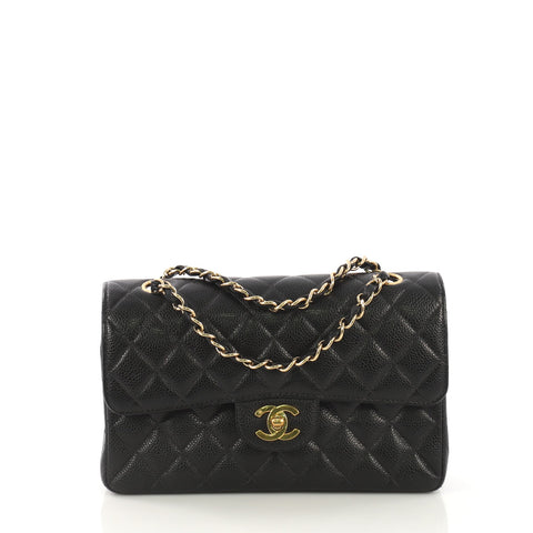 a640beca9c57 Chanel Vintage Classic Double Flap Bag Quilted Caviar Small 4127750 – Rebag