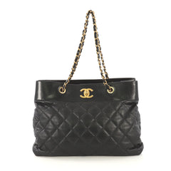 Chanel Model: Soft Elegance Tote Quilted Distressed Calfskin Large Black 41277/66