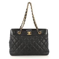 Chanel Model: Soft Elegance Tote Quilted Distressed Calfskin Medium Black 41277/67