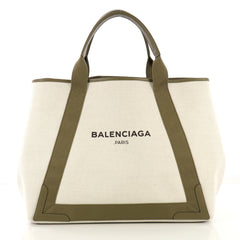 Balenciaga Navy Cabas Canvas with Leather Medium Neutral 4127774