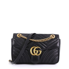 Gucci GG Marmont Flap Bag Matelasse Leather Small Black 4127793