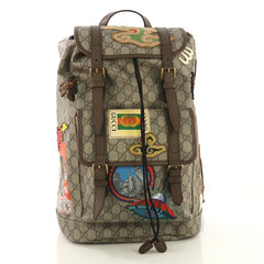 Gucci Courrier Soft Backpack GG Coated Canvas with Applique 4127794