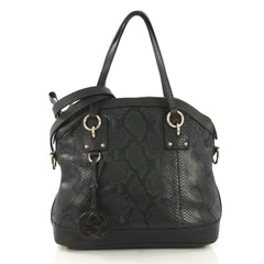 Gucci GG Charm Convertible Dome Satchel Python Large Green 4127796