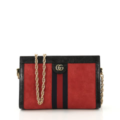 Gucci Ophidia Chain Shoulder Bag Suede Small Red 412811