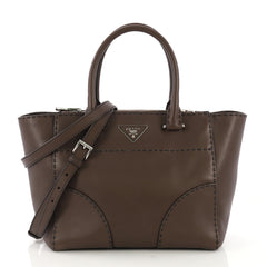 Prada Twin Pocket Tote Stitched City Calfskin Small Brown 412861