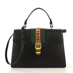 Gucci Sylvie Top Handle Bag Leather Medium Black 412981