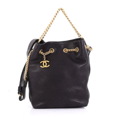 Chanel On My Shoulder Drawstring Bag Quilted Calfskin Small 4129918