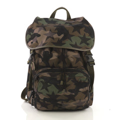 Valentino Camouflage Backpack Nylon and Leather Large Green 412997