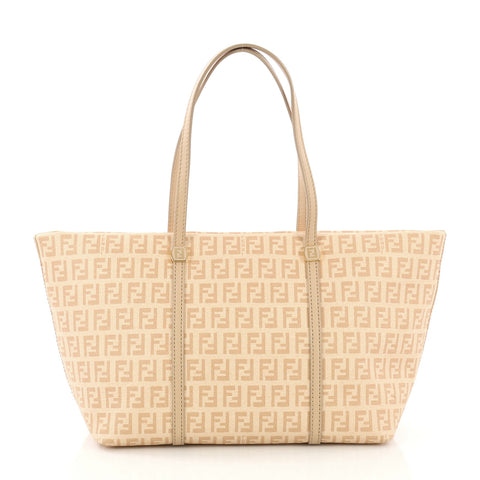 9f2580955e6 Fendi Shopping Tote Zucca Coated Canvas Small Neutral 412998 – Rebag